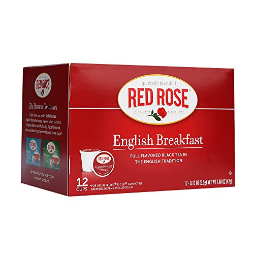 Red Rose English Breakfast Single Serve Cups - 12 Count - Cup Rose Red