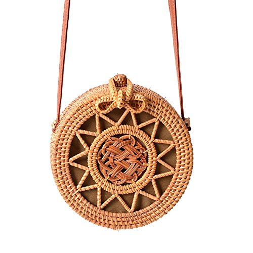 Oshide Retro Rattan Woven Bag Hollow Equinox Flower Weaving Pattern Bolso de playa circular de doble finalidad Bolsa de viaje bolso de Crossbody