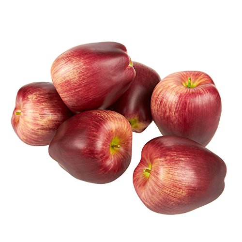 6-Piece Fake Fruit Apples - Artificial Fruit Plastic Deep Red Apples for Still Life Paintings, Storefront Decoration, Kitchen Decor, Red and Green - 2.7 x 3 x 2.7 Inches