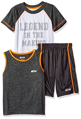 Iconic Muscle Tee - STX Little Boys' 3 Piece Athletic Muscle Tank, T-Shirt and Short Set, Charcoal, 5/6