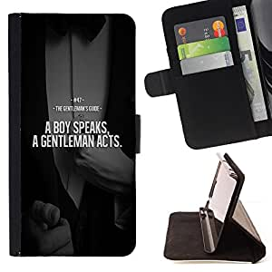 - SUIT BOY QUOTE COMPARISON GENTLEMAN - - Prima caja de la PU billetera de cuero con ranuras para tarjetas, efectivo desmontable correa para l Funny HouseFOR Sony Xperia Z1 L39