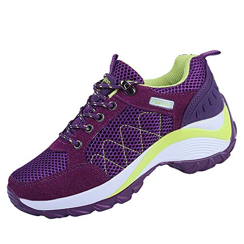 Hunzed Women Shoes Mesh Belt with Breathable Clearance Women's Sports Running Shoes Hiking Shoes (Purple, ()