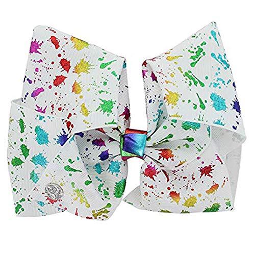 JoJo Siwa Large Cheer Hair Bow (Paint Splatter White)]()