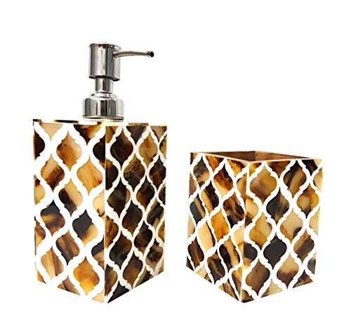 Antique Horn Made soap dispensers and Tooth Brush Holder Bathroom Accessories Royal Look Home Articles - Collectibles Buy (Yellow & White)