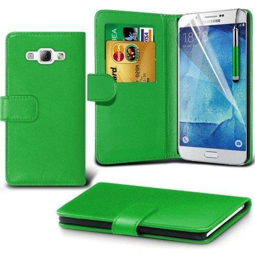 Samsung Galaxy A8 Cubierta del caso con cuero (Verde) Plus de regalo libre, Protector de pantalla y un lápiz óptico, Solicitar ahora mejor caja del teléfono Valorado en Amazon! By FinestPhoneCases
