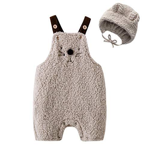 Newborn Baby Unisex Cartoon Cat Fleece Overalls Romper Jumpsuit 2pcs Newborn Photography Props (59 (3-6M)) Grey