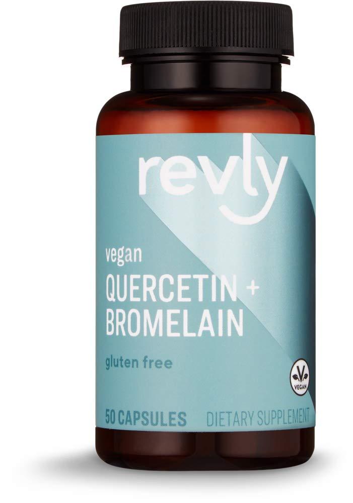Amazon Brand - Revly Quercetin + Bromelain, 500 mg Quercetin with 150 mg Bromelain, 50 Capsules, Vegan