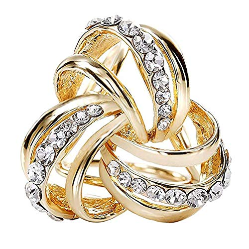 VIEEL Elegant Modern Simple Design Women's Triple-ring Diamante Metallic Silk Scarves Clip Scarf Ring Chiffon Buckle (gold)