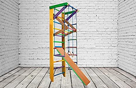 Del fabricante! KN-3-220-Color Sueco escalera barras de pared de madera Gymnastic Frame Home Workout equipo durable puerto barra de madera, amarillo: Amazon.es: Deportes y aire libre