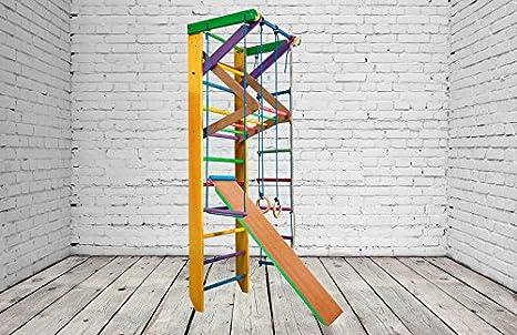 Del fabricante! KN-3-220-Color Sueco escalera barras de pared de madera Gymnastic Frame Home Workout equipo durable puerto barra de madera, amarillo: Amazon.es: Deportes y aire libre