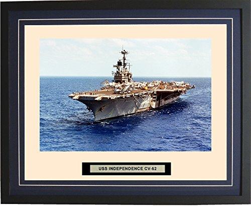 - Navy Emporium - USS Independence CV-62 - Framed - Photo - Engraved Ship Name - Double Mat - Photograph - 16 X 20 - 125CV62Blue