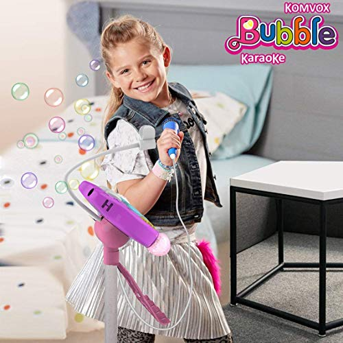 Kids Karaoke Microphone With Stand, Kids Karaoke Machine With Microphone Singing, Creative Birthday Gifts For Girls Age 3 4 5 6 Year Old Boys, Enjoy Bubbles Cheering Drum Effects by TiMi Tree (Image #1)