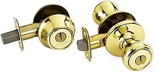 Kwikset 690 Tylo Entry Knob and Single Cylinder Deadbolt Combo, Polished Brass