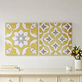 tuscan bedroom furniture Décor 5 - Printed Canvas Set with Silver Metallic Foil - 2 Pieces, 18'' x 18'' - Tuscan Geometric Pattern - Yellow, White, Silver Foil