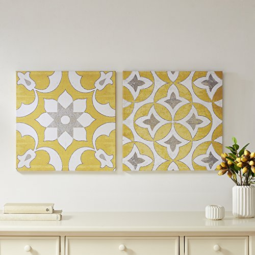 Tuscan Bedroom Decor (Décor 5 Printed Canvas Set with Silver Metallic Foil - 2 Pieces, 18'' x 18'' - Tuscan Geometric Pattern - Yellow, White, Silver Foil)