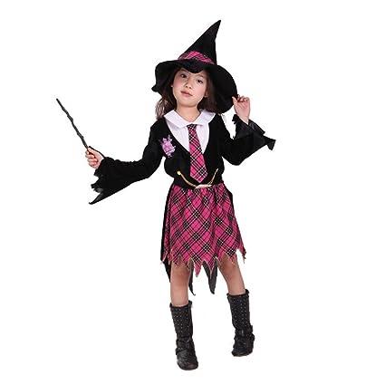 3a128583b977 Tongchou Costume Strega Bambina Vestito Bambina Halloween Carnevale Taglia M:  Amazon.it: Prima infanzia