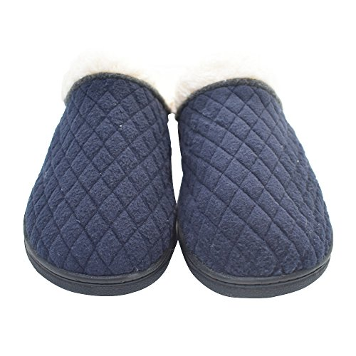 Q-plus Memory Foam Warme Huisslippers Voor Heren Indoor Antislip Rubberen Zool Blauw