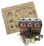 "Wooden Pirate Treasure Chest 6.5 x 4.5"" x 4.5"" with Hasp Latch, Full Functional Lock and Skeleton Key 32 Metal Pressed Gold and Silver Coins and Antique Style Treasure Map and Flag from Well Pack Box"