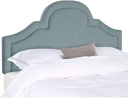 Safavieh Kerstin Sky Blue Linen Blend Upholstered Arched Headboard King