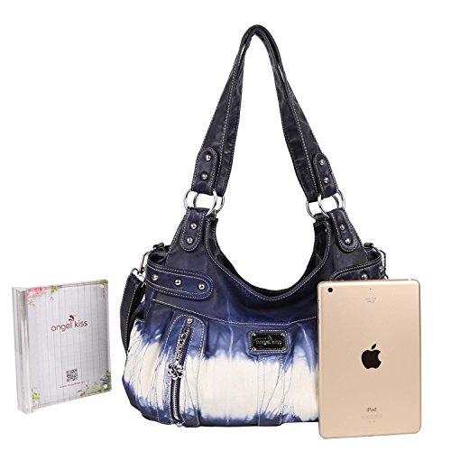 Shoulder Large Design Angelkiss Soft Purse Feel Top Bags Lether Womens Multiple Zipper Handbags Pockets fOOHPR