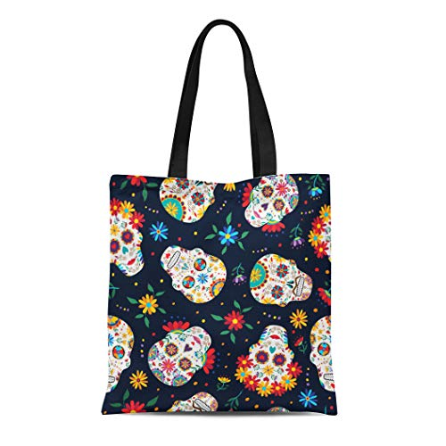 Semtomn Cotton Canvas Tote Bag Day Traditional Mexican Sugar Skull Flowers and Colorful Dead Reusable Shoulder Grocery Shopping Bags Handbag Printed ()