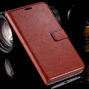 For Nexus 6 Deluxe Full Protection Flip Pu Leather Case For Google Nexus6 Retro Cover Wallet With Card Slot & Photo Frame Stand Brown-Brown