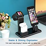 Muti-fuction 4 in 1 Aluminum Apple Watch Charger Dock for for Apple Watch Series 3/2/1/ AirPods/ iPhone X/8/8Plus/7/7 Plus /6S /6S Plus/ iPad,Charging Stand AirPods Holder for i (black)