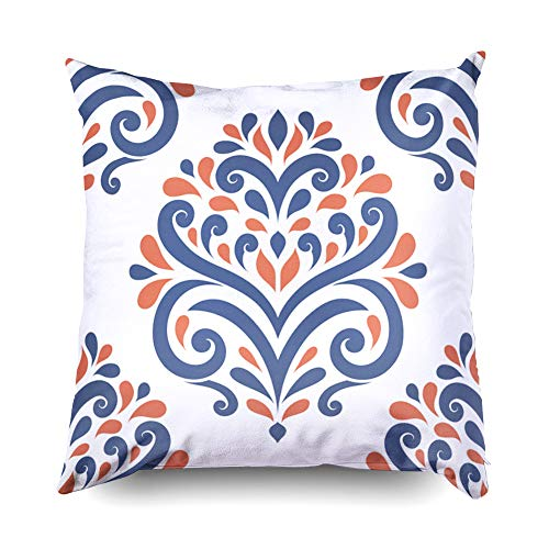 Medallion 16 Classic - Hug Pillow Covers,Shorping Zippered Covers Pillowcases 16x16 Inch Throw Pillow Covers Blue and orange damask vector seamless pattern wallpaper Elegant classic texture Luxury ornament Roy for Home Sofa
