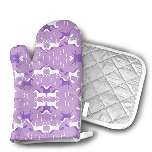 Horses Purple Lilac Girls Sweet Cowgirl Oven Mitts for Kitchen Heat Resistant, Oven Gloves for BBQ Cooking Baking, Grilling,