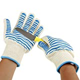 932°F Heat Resistant BBQ Gloves Non-slip Silicone Coated Oven Mittens for Cooking, Grilling, Baking