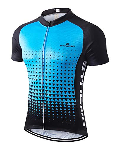 (MR Strgao Men's Cycling Jersey Bike Short Sleeve Shirt Size XL Blue Sky)