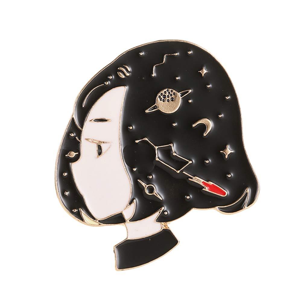 BrawljRORty Brooch Pins for Women, Cartoon Girl Portrait Enamel Brooch Pin Jeans Coat Shawl Jewelry Decoration, Gifts for Christmas Daily Birthday