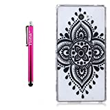 Sony Xperia M2 Case, Firefish Slim Protective TPU Case Durable Soft [Soft-Flex] Cover Skin Protective for Sony Xperia M2 + One Stylus Pen - Black Chinese Knot