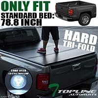 Topline Autopart Solid Tri-Fold Hard Tonneau Topper Cap...