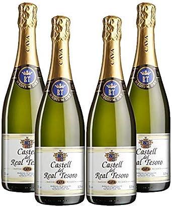 Cava Real Tesoro Medium Dry de 75 cl - D.O.Cava - Bodegas Grupo Estevez (Pack de 4 botellas): Amazon.es: Alimentación y bebidas