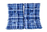 Ambientehome 98 x 50 x 8 cm HANKO Garden Arm Chair Cotton Padded Low Back Cushion - Checked Blue (2-Piece)