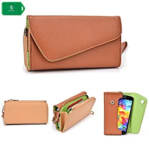 CROSS BODY WRISTLET/WALLET SMARTPHONE HOLDER| NUDE/CAMEL BROWN | UNIVERSAL FIT FOR Motorola Droid Razr XT912