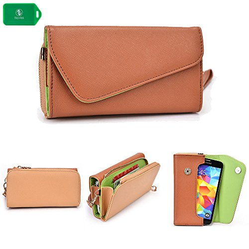 CROSS BODY WRISTLET/WALLET SMARTPHONE HOLDER| NUDE/CAMEL BROWN | UNIVERSAL FIT FOR Samsung Galaxy S5 (Nude Camel)
