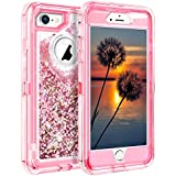 iPhone 8 Case, Coolden Shining Liquid Glitter Case for Girls Bling Sparkle Heavy Duty Protective Armor Case with Hard PC Inner Frame & Soft TPU Back Cover for iPhone 7 8 - Dried Rose Pink