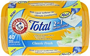 Arm & Hammer Total 2-in-1 Dryer Cloths, Classic Fresh, 40 Count