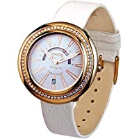 Moog Paris Night & Day Vogue Women's Watch with White Dial, White Genuine Leather Strap & Swarovski Elements - M45562-005