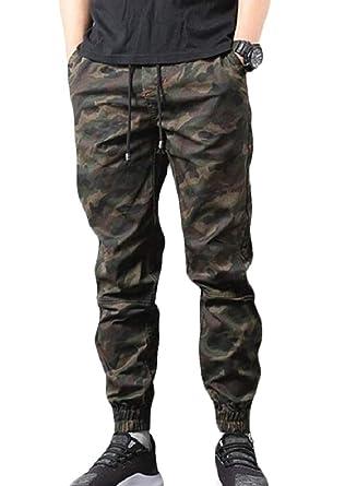 CRYYU Men Casual Straight Leg Camouflage Drawstring Close Bottom Retro Pants