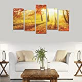 Contemporary Fashion Wall Art nature autumn forest trees leaves sun light Canvas Print Home Wall Personal Decoration Room Wall Decor Oil Painting 5 Piece Oil Paintings Canvas (No Frame)