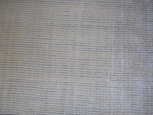 (Modern Tibetan Artisan rug 3x5 All Silk & wool Nepal Carpet light hand made New texture tufenkian look stripes)