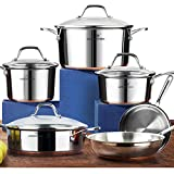 HOMI CHEF 10-Piece Mirror Polished Copper Band NICKEL FREE Stainless Steel Cookware Pots and Pans Sets (No Toxic Non Stick Coating, 2 Frying Pans +1 Saute Pan +2 Sauce Pans +1 Stock Pot) 20172