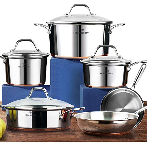 HOMI CHEF 10-Piece Mirror Polished Copper Band NICKEL FREE Stainless Steel Cookware Pots and Pans Sets (No Toxic Non Stick Coating, 2 Frying Pans +1 Saute Pan +2 Sauce Pans +1 Stock Pot) 20172 by HOMICHEF
