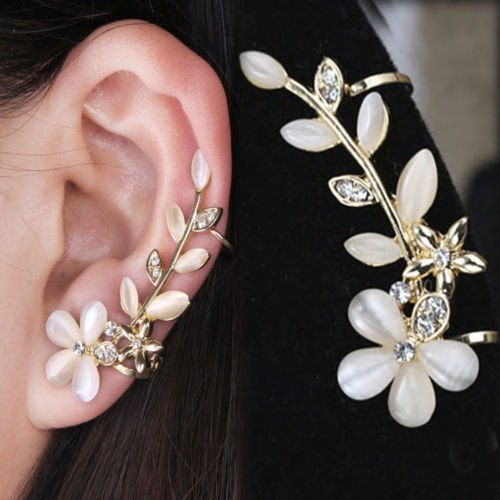 SymWell(TM) Women Fashion Flower Shape Rhinestone Left Ear Cuff Clip Golden Stud Earring ()