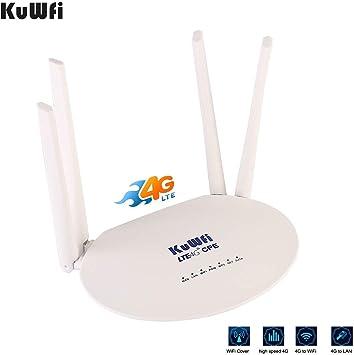 Router 4G, Desbloqueado 300Mbps 4G LTE Wireless WiFi Router con Ranura para Tarjeta SIM con 4pcs Antenas no Desmontables Cat6 Compartir 32 Usuarios