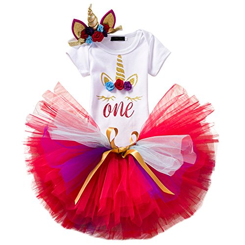 Baby Girl Unicorn Costume First Birthday Party Short Sleeve Bodysuit Rainbow Tulle Skirt Horn Headband Halloween Outfit 3PCS Set Red