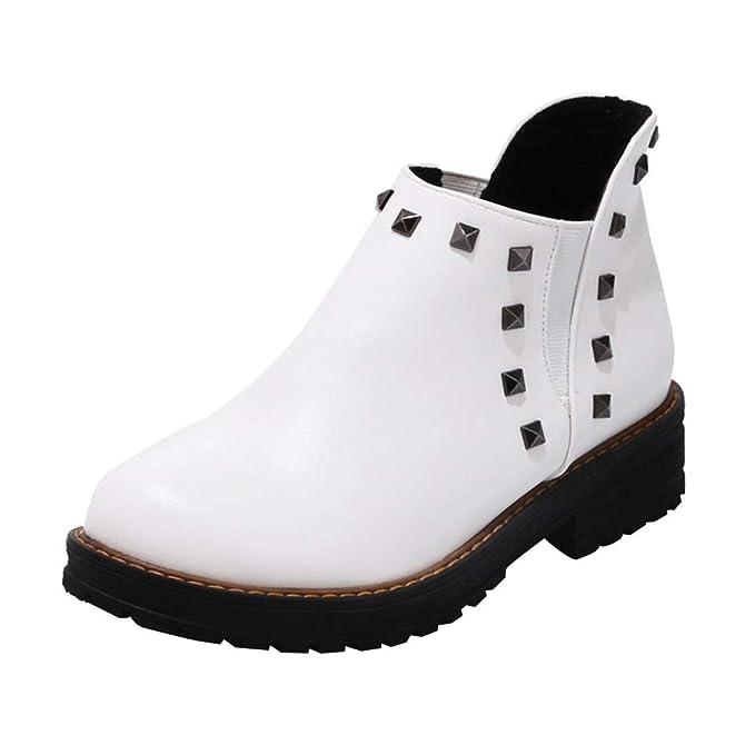Mymyguoe Zapatos de Invierno Mujer,Mujeres Planas Botines Cortos con Remache de Cuero Black Friday Botas Zapatos Tacon bajo Fondo Plano Botas Color sólido ...